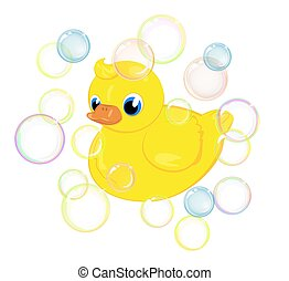 bath duckling - A yellow toy duck in soap bubbles