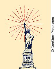 vector american symbol of New York statue of liberty