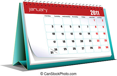 Vector illustration of desk calendar Months Holidays