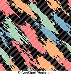 vector seamless pattern of colorful abstract shapes on  striped background