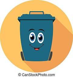 vector flat recycling wheelie bin cartoon icon