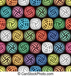 vector seamless abstract pattern of colorful yarn balls