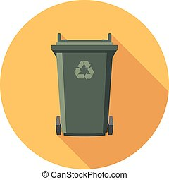 vector flat recycling wheelie bin icon with recycle arrow...