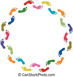vector abstract illustration of colorful footprint symbols