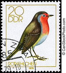 GDR - CIRCA 1979 Robin - GDR - CIRCA 1979: A Stamp shows...