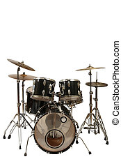 drum kit - five piece drum kit white background