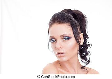 美しい, 夏, 女, 美しさ, カラフルである, 顔, 構造, 唇, ピンク, ブルネット, メーキャップ, 女の子, ファッション, モデル