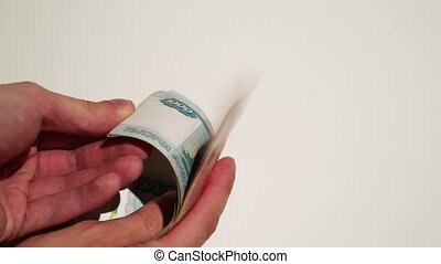 Person counting russian money - Unrecognizable person...