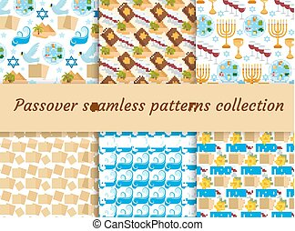 Passover seamless pattern collection. Pesach endless...