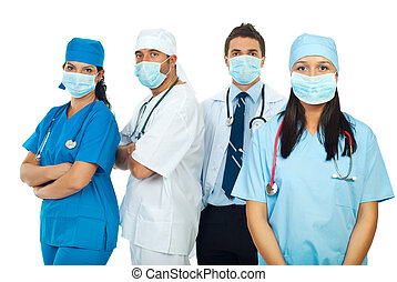 Healthcare workers with masks