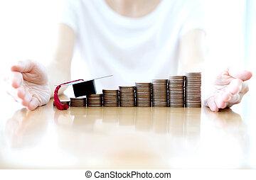 Woman saving education coins