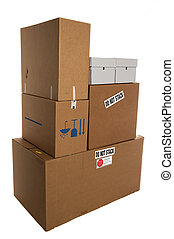 Do Not Stack boxes - Stacked boxes with stackers saying do...