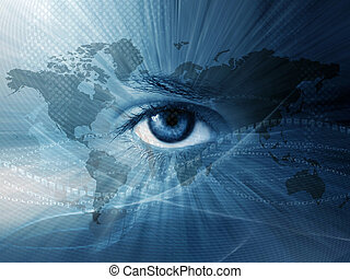 World map and blue eye