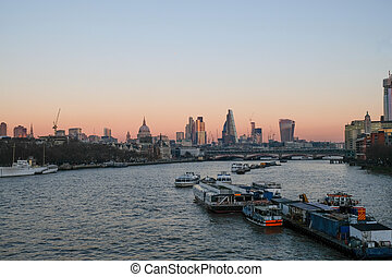 Evening view from Waterloo Bridge - Evening view of City of...