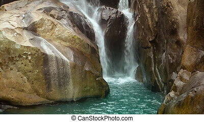 Natural Waterfall in Vietnam with Sound - Whitewater pours...