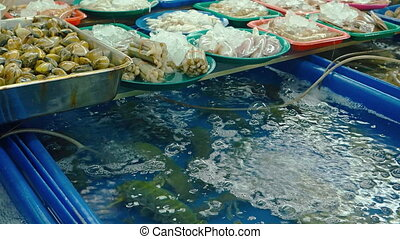Assorted Fresh Seafood in a Thai Public Market. FullHD video...