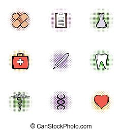 Doctoral icons set, pop-art style - Doctoral icons set....