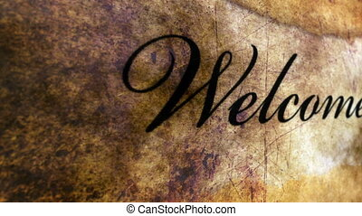 Welcome text on grunge background