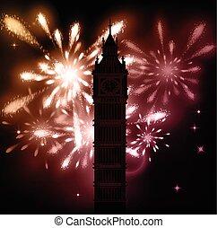 Big Ben vector contur. England or Londonbackground with...