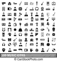 100 music icons set, simple style - 100 music icons set in...