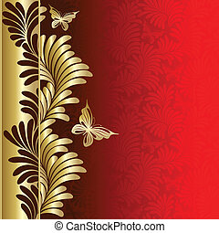 Background with plants and butterflies - Red background with...