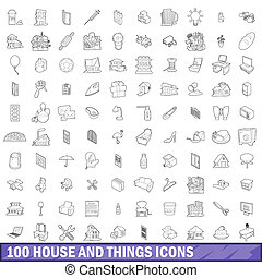 100 house and things icons set, outline style - 100 house...