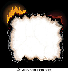A piece of burning paper