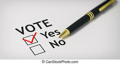 Vote yes - check box. 3d illustration