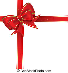 Christmas bow - Red christmas bow on a white background