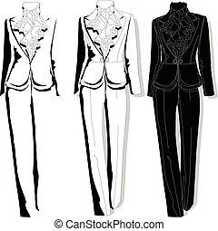 Female suit. Clothes collection. Vector. - Female suit....