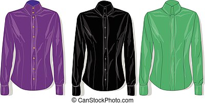 Dress shirt female. Clothes collection. Vector. - Dress...