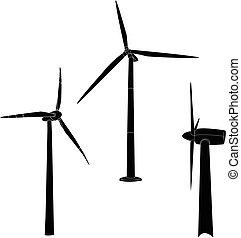 Wind turbine illustration. Vector. - Wind turbine...