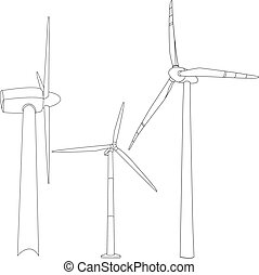 Wind turbine illustration. Vector. - Wind turbine...