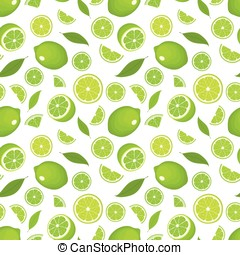 Seamless pattern of citrus fruit - lime with leaves, whole products and slices on white background. Vector illustration in color. Cover for design.