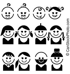 Baby and children faces,  line vector icon set