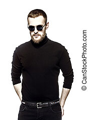short hair cut - Handsome bearded hipster man wearing...