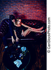 night life concept - Glamorous couple of young people...