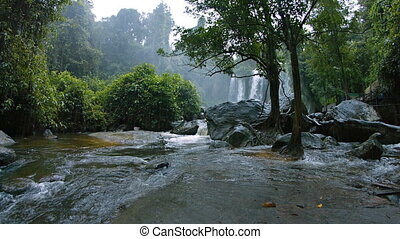 Peaceful Waters Swirling at Base of Waterfall, with Sound -...
