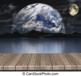 3D wooden table looking out to a defocussed night scene - 3D...