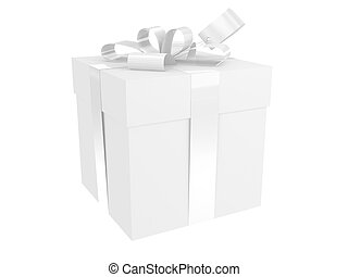White present pack with bow and tag, isolated on white
