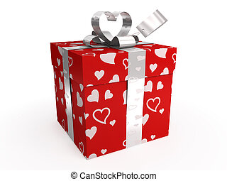 Red gift box with hearts, bow and tag, isolated on white