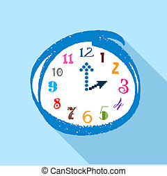 Watch with multicolored numbers icon, flat style - Watch...
