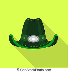 Green hat icon, flat style - Green hat icon. Flat...