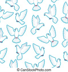 Seamless pattern with white doves. Beautiful pigeons faith...