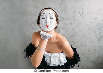 Pantomime theater actress posing in studio - Pantomime...