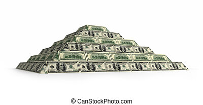 Dollar's financial pyramid, 3d render isolated on white with depth of field