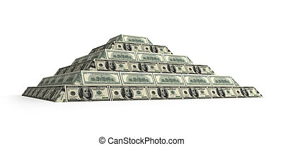 Dollar's financial pyramid, 3d render isolated on white