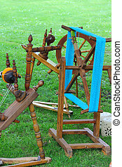 Old spinning wheel - Old traditional wooden spinning wheel...