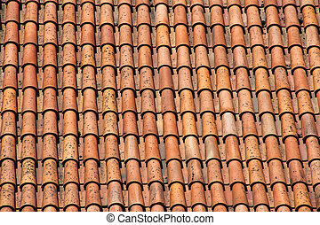 Old tile roof - Old red clay tile roof background in Tallinn