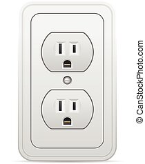 Power outlet on a white background.
